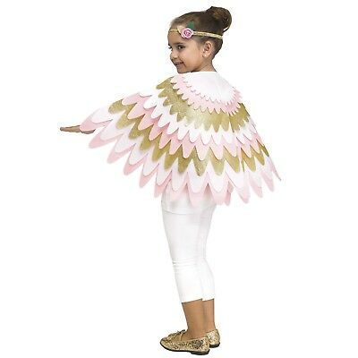 Girl's Angel Wings Cape Bird Headband Set Pink Gold Halloween Costume Child - Bird Costume Child