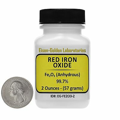 Red Iron Oxide Fe2o3 99.7 Acs Grade Powder 2 Oz In A Mini Plastic Bottle Usa