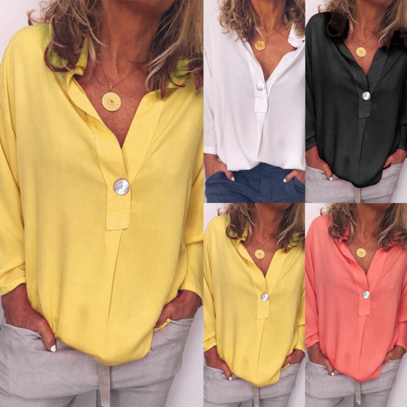 Damen Hemdbluse V-Ausschnitt Blusen Oberteil Sommer Freizeit Langarm Hemdenshirt