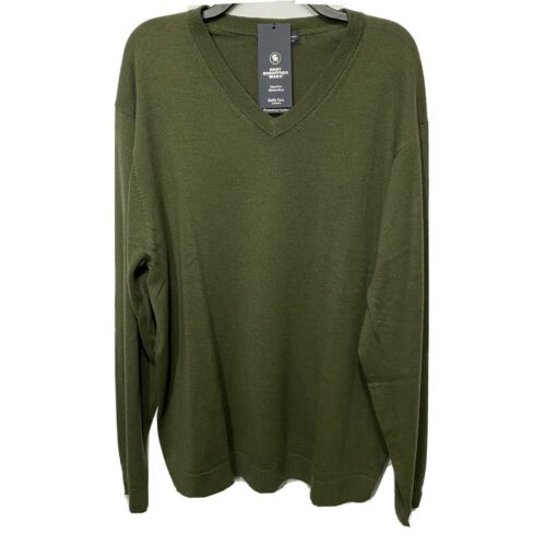 $99 Hart Schaffner Marx V-Neck Sweater 2XT 2XLT Sage Green Wool Pullover Clothing, Shoes & Accessories