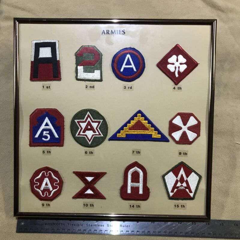 WWII US Army 1st Army-15th Army Patches Lot In Custom Frame.