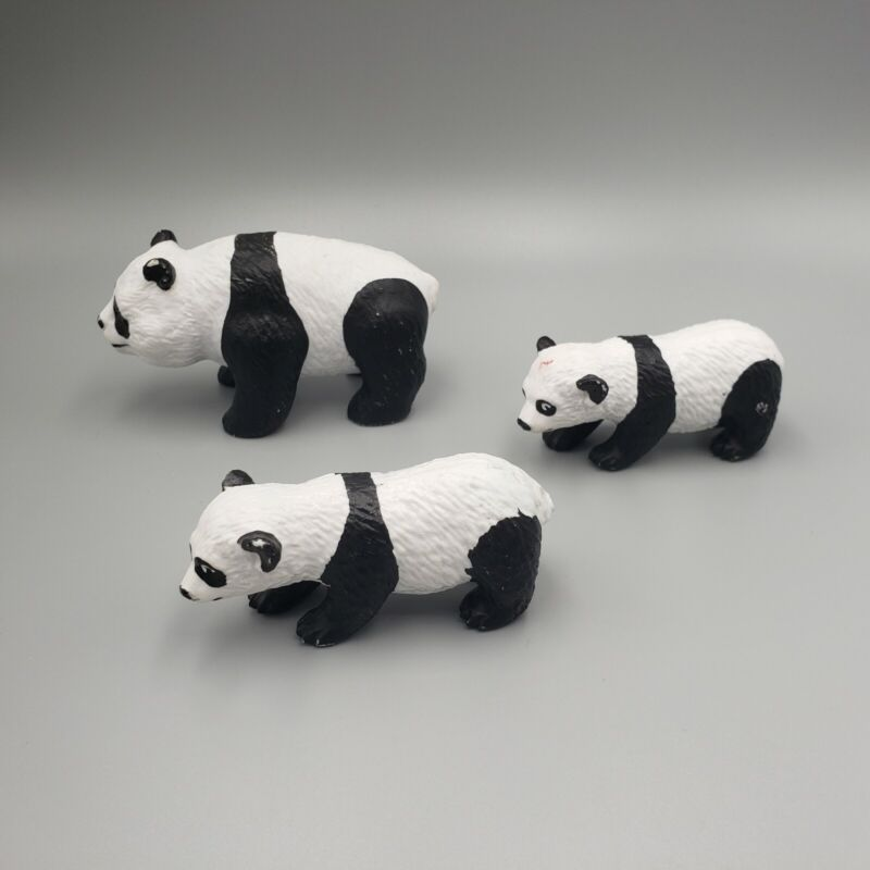 Lot of 3 AAA Miniature Panda Bears Figurines Rubber Toy Collectible Figure China