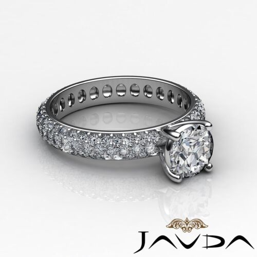 Round Cut Diamond Engagement Eternity Style Ring GIA F SI1 14k White Gold 2.5ct 2