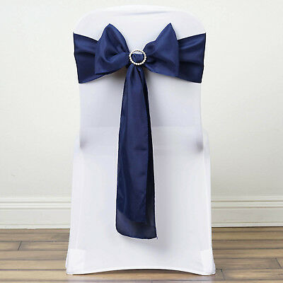 10 Navy Blue Polyester CHAIR SASHES Ties Bows Wedding Party Ceremony - Navy Blue Wedding