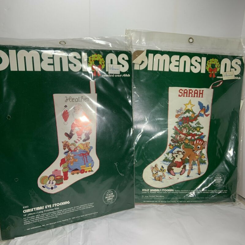 2 Pc DIMENSIONS Cntd Cross Stitch STOCKING Kits Lot Christmas Eve Jolly Animals
