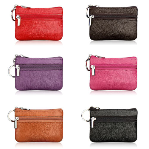 Mens Womens Plain Leather Small Key Ring Wallet ID Card Clut