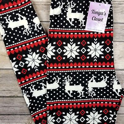 Holiday Christmas Leggings Red Reindeer Snowflake Buttery Soft ONE SIZE OS