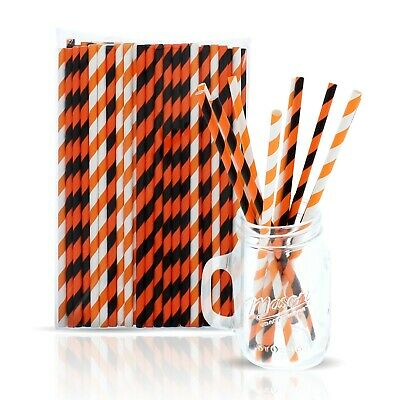 Halloween Paper Straws (100 Halloween Paper Straws - Orange, White and Black Striped Party)