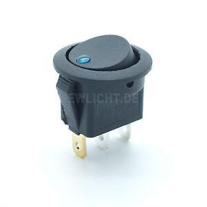 Kfz Schalter mit blaue LED beleuchtet 12V / 16A EIN / AUS Wippenschalter blau