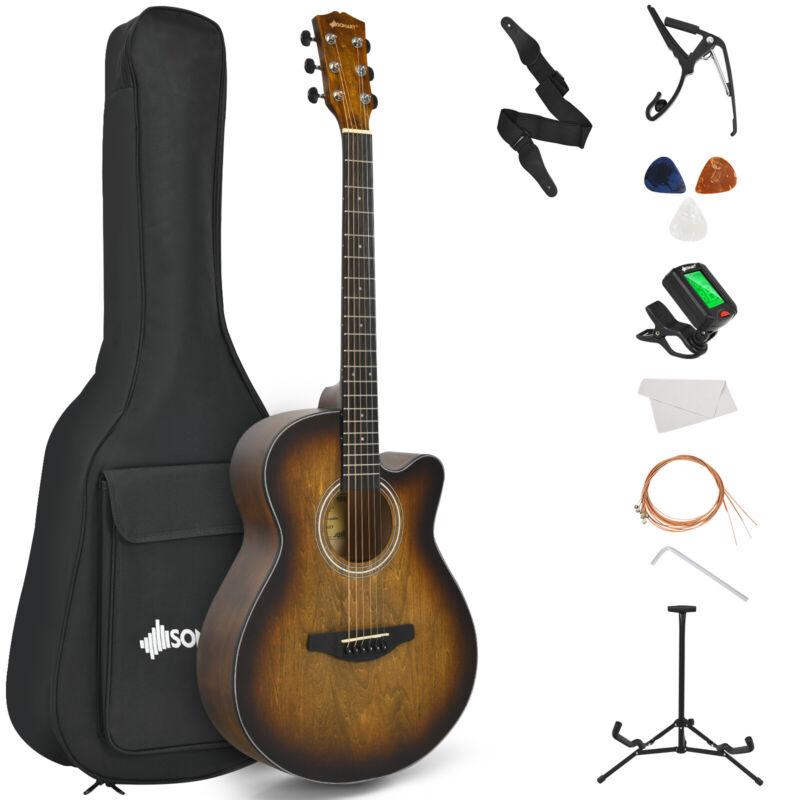 "Sonart 40"" Full Size Cutaway Acoustic Guitar Starter Guitarra Bundle Kit Coffee"