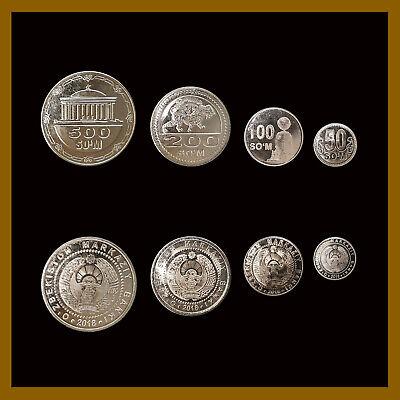 Uzbekistan 50 100 200 500 Som (4 Pcs Coin Full Set), 2018 New Unc