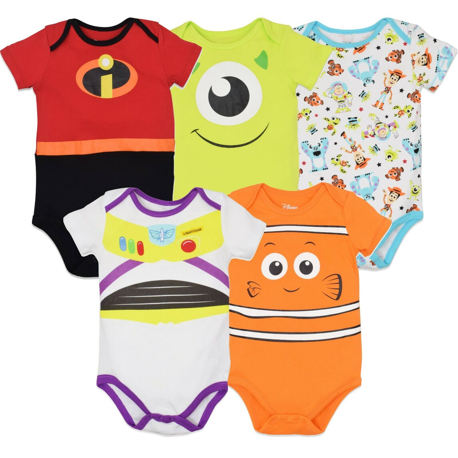 Disney Pixar Baby Boy Girl 5 Pack Bodysuits Nemo Buzz Incred