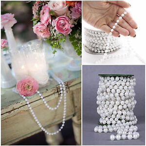 New 5M White Pearl Beads String Roll Garland DIY Wedding Party Decorat Trim ABS