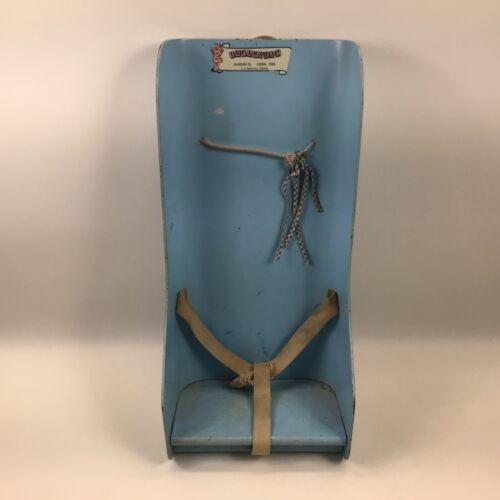 "Infanseat  Eldora Iowa wood vintage baby blue car seat carrier 21""x11"""