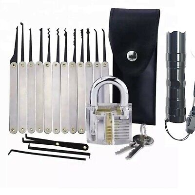 Lock Pick Set Key Extractor Clear Practice Padlock Multi tools & Flashlight USA