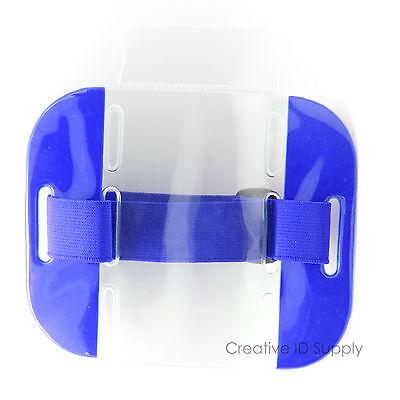 Lot 25 Reflective Blue Arm Band Photo Id Badge Holder Vertical W Elastic Band
