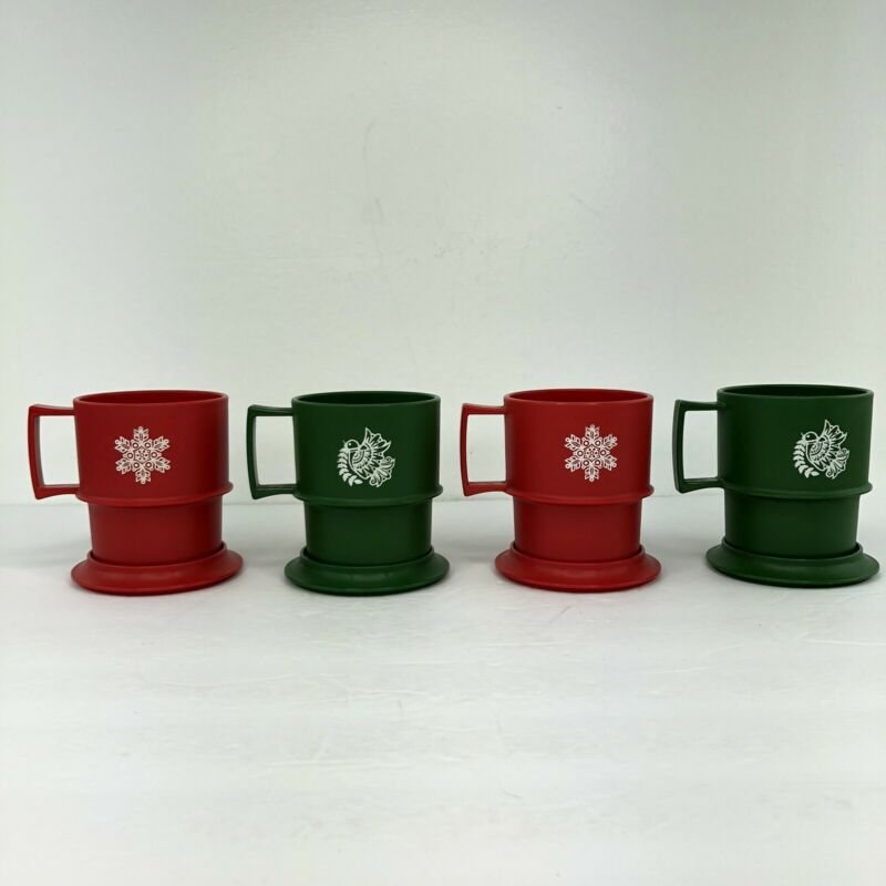 Vintage Tupperware Red And Green Snowflake Coffee Mug with Lid/Coaster