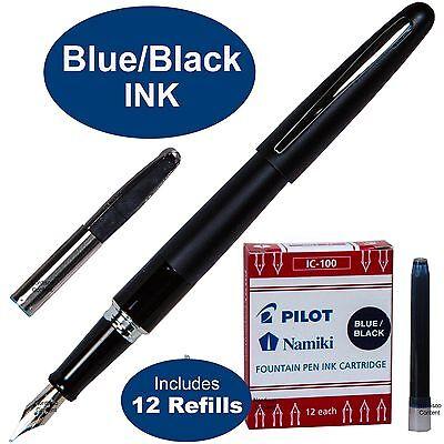 Pilot Metropolitan Fountain Pen, Black Barrel, Blue/Black Ink, 1 Pen, 12 Refills
