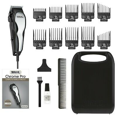 Wahl Chrome Pro Corded Men Hair Clipper Complete Home Barber HairCutting Kit