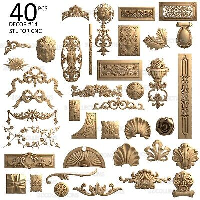 3d Stl Model Cnc Router Artcam Aspire 40 Pcs Decor Collection Pack 14