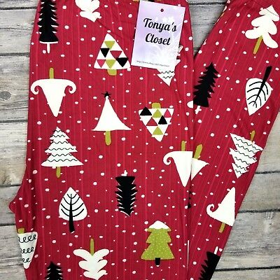 Snowy Christmas Tree Leggings Red Holiday Print Buttery Soft ONE SIZE OS