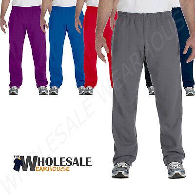 Gildan Men's Heavy Blend 8 oz 50/50 Open Bottom Elastic Waistband Sweatpant (50 Open Bottom Sweatpants)