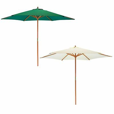 Garden Patio Parasol Umbrella Hardwood Frame 2.7m Outdoor Beach Sun Shade