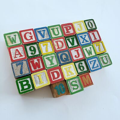 """31 Vintage Wooden ABC Building Blocks w/Numbers Alphabet Learning Toys Crafts 1"""""""
