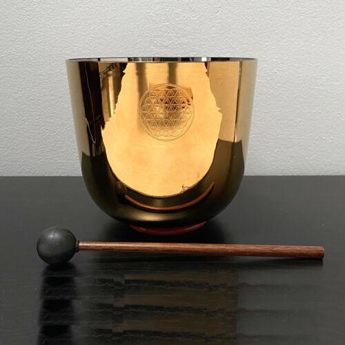 "Alchemy Flower of Life D# Chakra Quartz Crystal Singing Bowl Golden Color 5.75"""