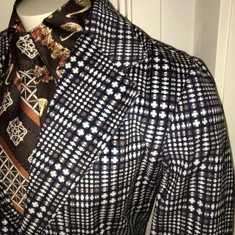 NEW Vtg 70s Mens 40 Blue CORDUROY Plaid CORD Sport Coat Suit Jacket Blazer NWT