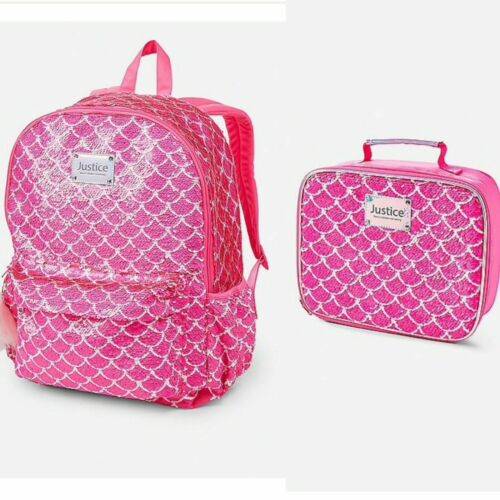 Justice Mermaid Flip Sequin Backpack and Lunch Tote Girls Backpack Full Size NWT