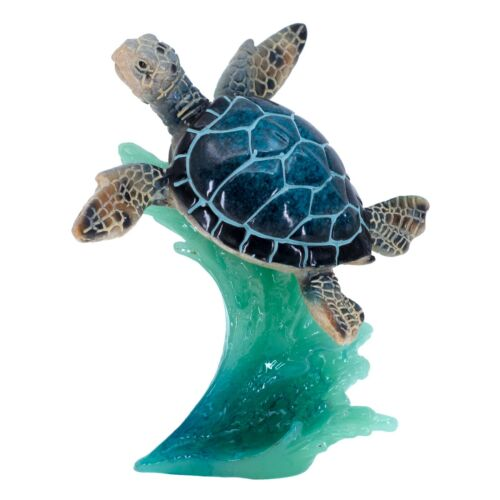 """Blue Sea Turtle Swimming On Water Wave Figurine 4.5"""" High Resin Statue New"""