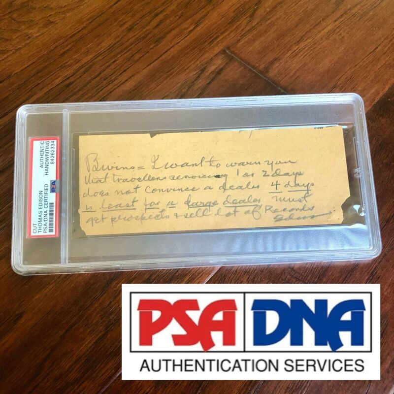 "Thomas Edison * PSA/DNA Slab * ""Sell Records"" Autograph Handwritten Note Signed"