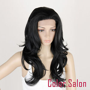 HAND-TIED-Synthetic-Hair-LACE-FRONT-FULL-WIGS-GLUELESS-HEAT-SAFE-Off-Black-92-1B
