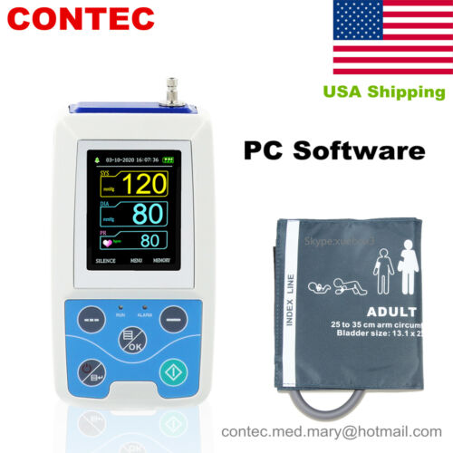 ABPM50 Ambulatory Blood Pressure Monitor NIBP Holter USB Software 24 Hour Record