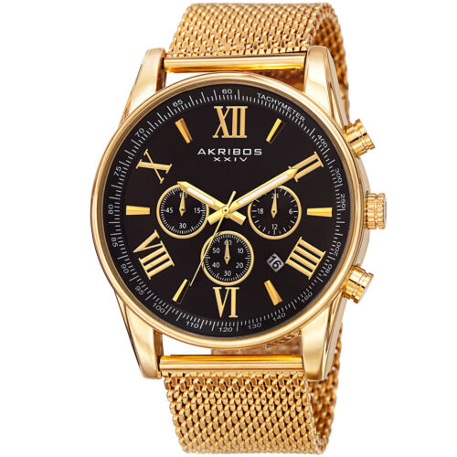 Mens Akribos XXIV AK813 Swiss Chronograph Date Stainless Steel Mesh Watch