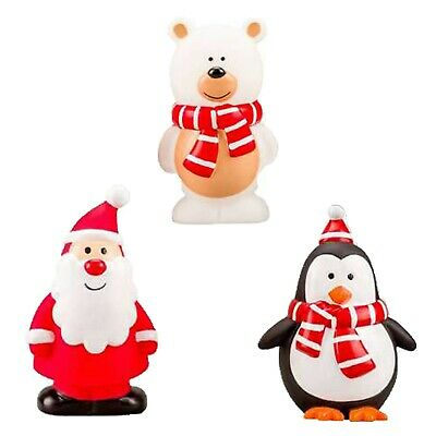 PACK OF 3 CHRISTMAS ASSORTED VINYL SQUEAKY DOG TOYS SANTA, PENGUIN, SNOWMAN