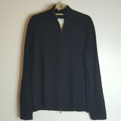 Versace Collection Mens Black Full Zip Merino Wool/ Cotton Sweater XXL