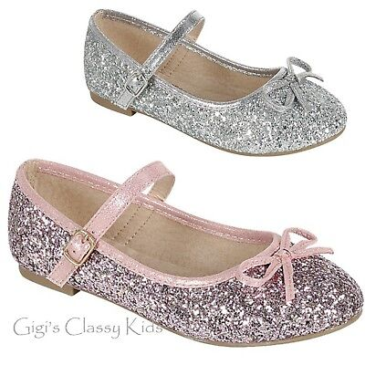 New Girls Pink Silver Metallic Glitter Flats Dress Shoes Mary Jane Kids Party](Girls Silver Flats)