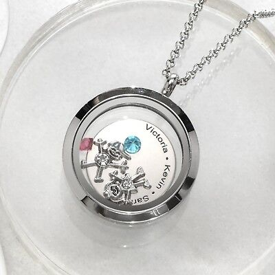 Personalized Floating Locket with Kids Charms and Birthstones Necklace for Mom - Floating Locket Necklace And Floating Charms