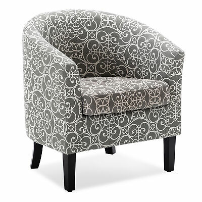 Modern Club Chair Tub Barrel Fabric Seat Armchair Accent Living Room, Grey