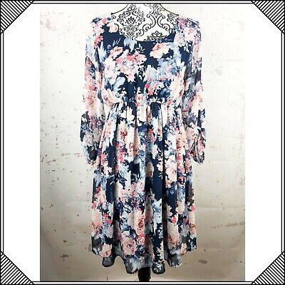 Floral Career Dress Blue Pink Womens Size Medium Lined Medium Pink Apparel
