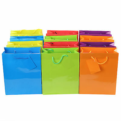 12pc Bright Neon GIFT Bags Colorful Paper Bags Small, Medium, Large - Large Paper Bags