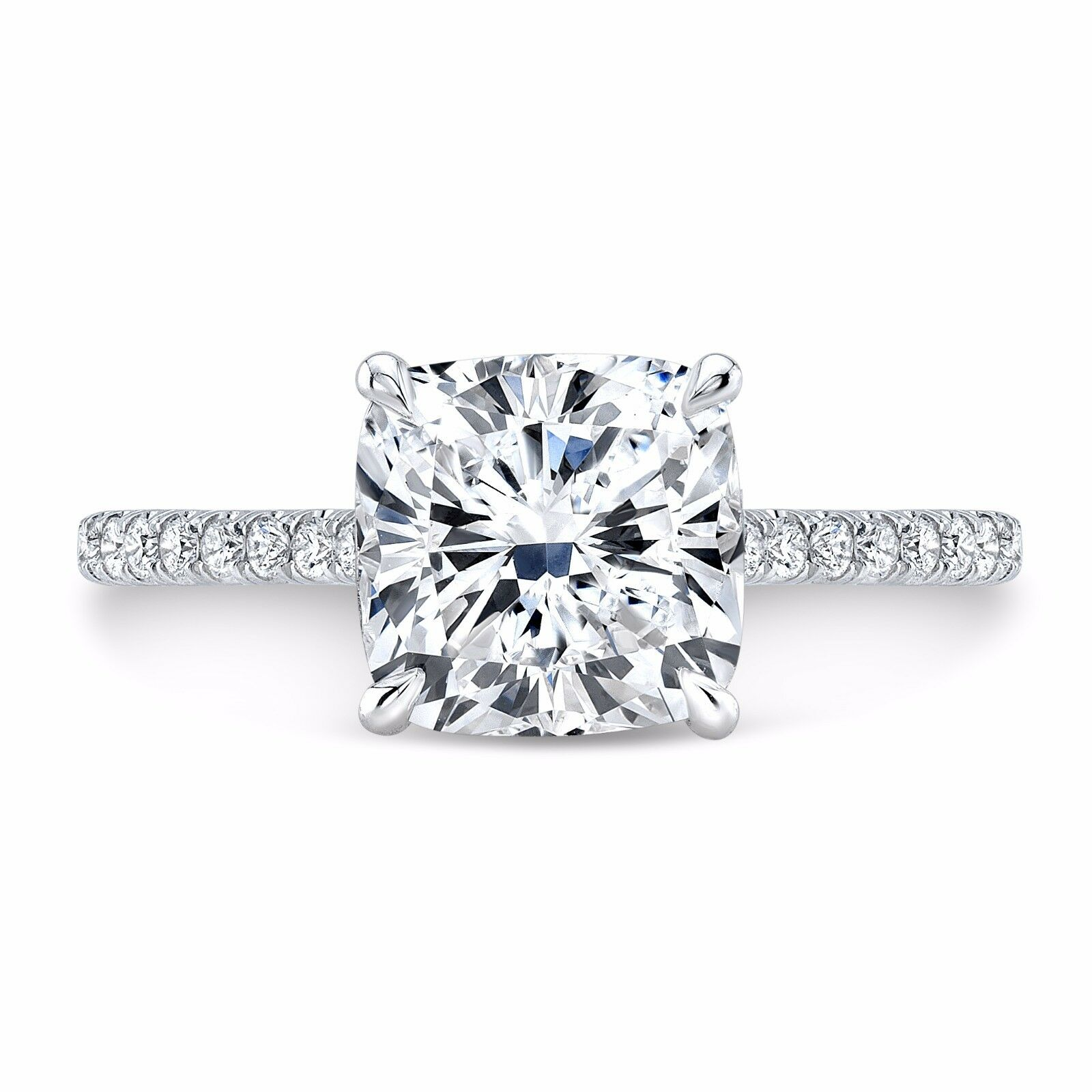 1.50ctw Natural Cushion Pave Diamond Engagement Ring - GIA Certified 1