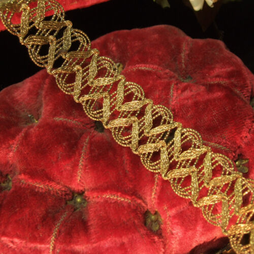 """Antique vtg Heavy Gold Bronze Metal Trim Woven Braid Lace Early 1900´s 1"""" wide"""