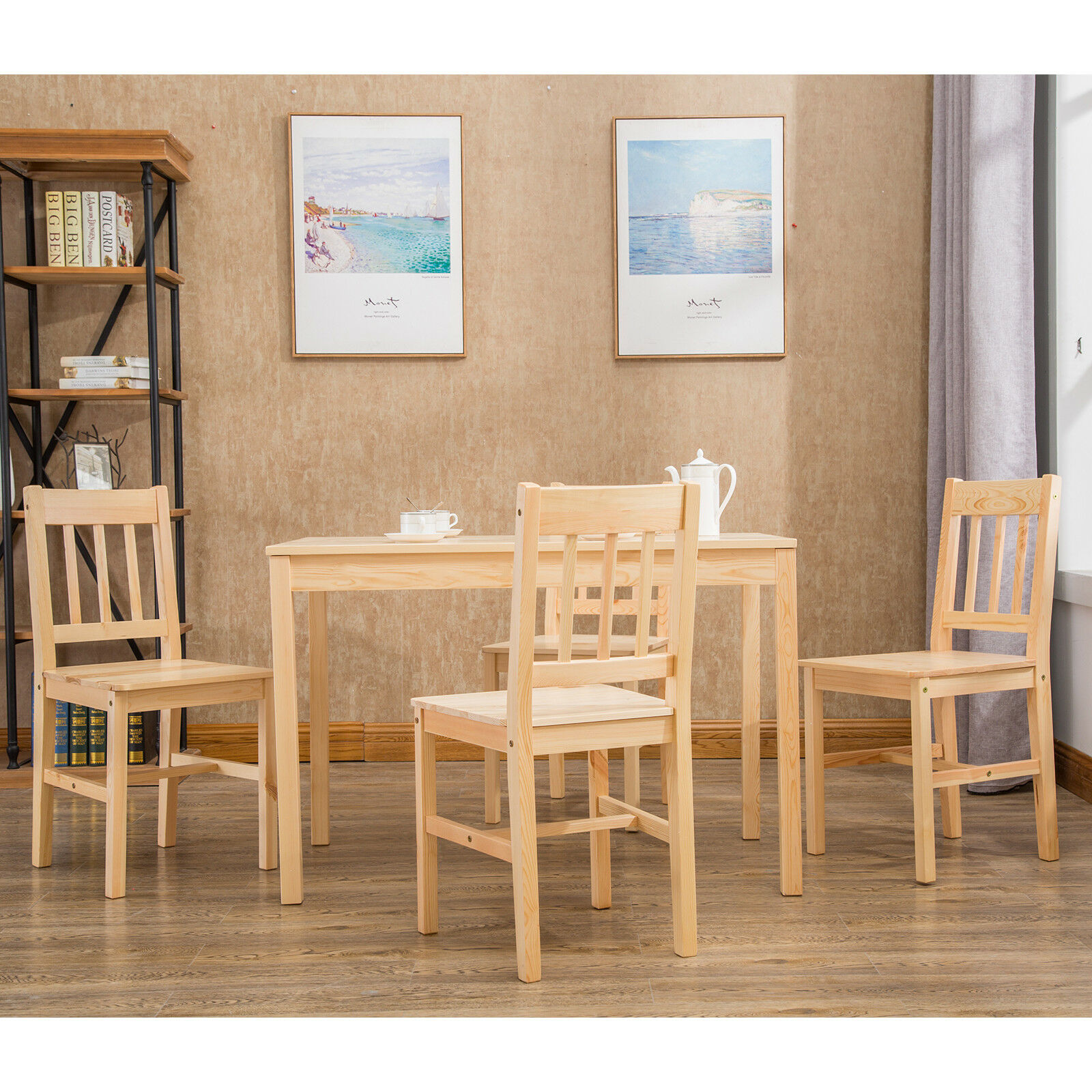 Details About Nature 5 Pcs Pine Wood Dining Table Set W 4 Chairs Kitchen Room Furniture