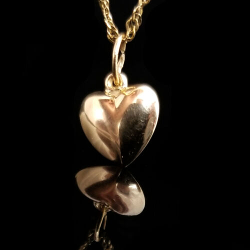 14k Small Heart Shaped Pendant, Yellow Gold, 7/16 Inch Tall, 3/8 Inch Wide, Puff