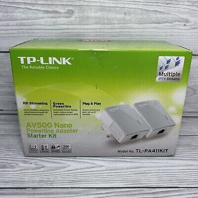 TP-Link TL-PA411KIT AV500 Nano Powerline Adapters Brand New Open Box Wifi Extend