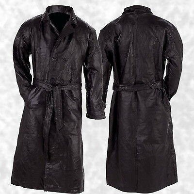 Mens Duster Jackets (Mens Long Black Leather Button Front Trench Over Coat Full Length Duster Jacket )