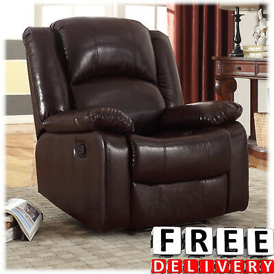 - Bonded Leather Rocker Glider Recliner Chair Wall Hugger Black/Bro Full Extension